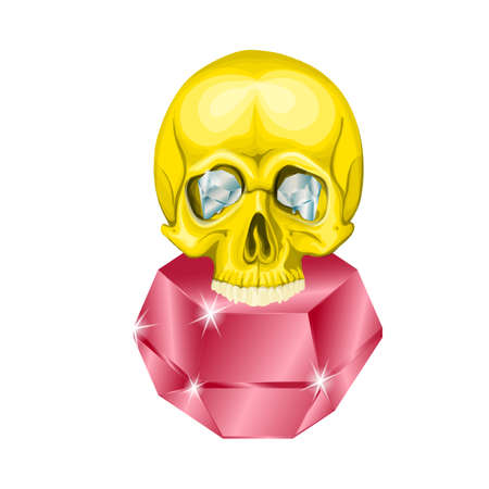 diamond gold human skull with red ruby eyes Ilustrace
