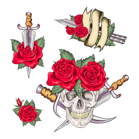Set of retro tattoos in old school style