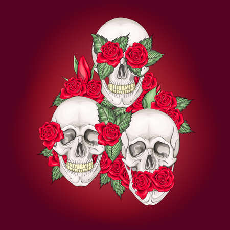 Vector illustration of human skulls with flowers roses I dont say I do not see I do not hear Ilustracja