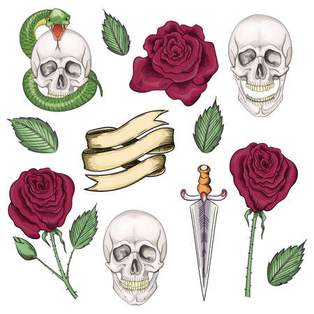 Set of elements for tattoos or stickers, prints in the old school style Ilustracja