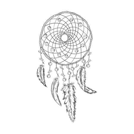 hand drawn illustration of dream catcher, native american poster Vector Illustratie