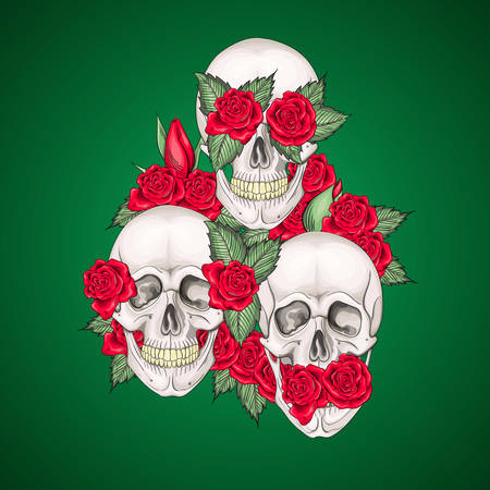 Vector illustration of human skulls with flowers roses I dont say I do not see I do not hear
