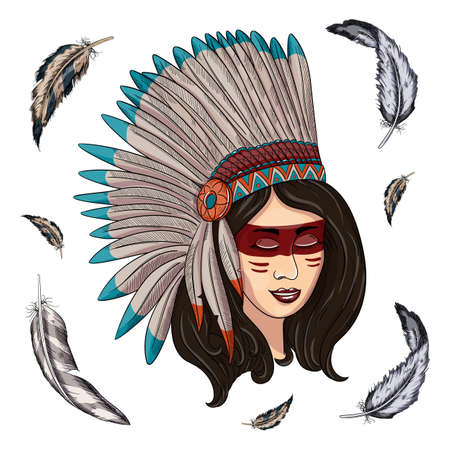 illustration of a beautiful American Indian woman with braided hair Ilustracja