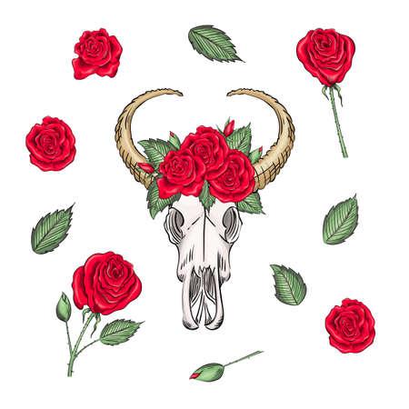 Bohemian vector western mystical ox skull, print rose flowers and knives. buffalo bohemian head, western vintage animal. Ilustracja