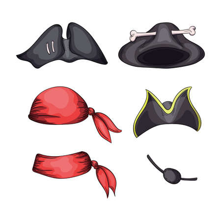 Set of hats for pirates and bandits and blindfold