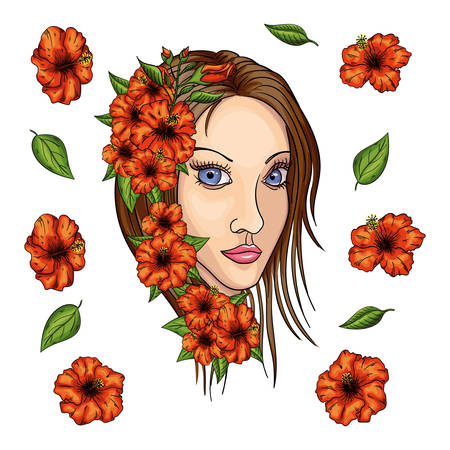 portrait of young beautiful woman with flowers.