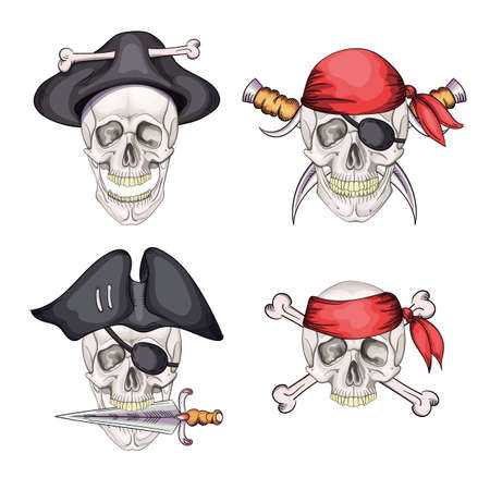 Danger pirate skull set in bandane and hat for tattoo or t-shirt design.