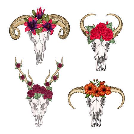 Collection of skulls of wild animals western mystical, print flowers. Deer bohemian head, western vintage animal.