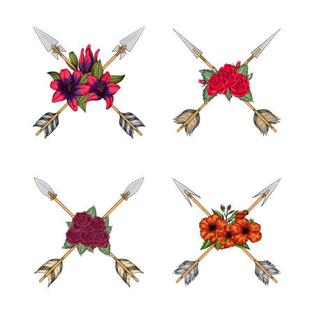 arrows crossed of indians collection with flowers in boho style Ilustracja