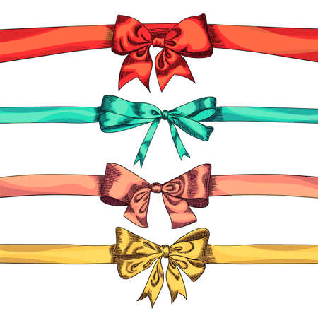 Bow ribbons color isolation on a white background, vector illustration. Hand drawn isolated holiday design elements. Ilustracja