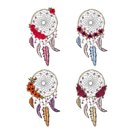 hand drawn illustration of dream catcher with flowers, native american poster, beautiful background with feathers Ilustracja