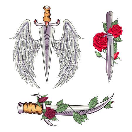 Old school styled tattoo of a dagger through rose. Editable vector illustration. Ilustracja