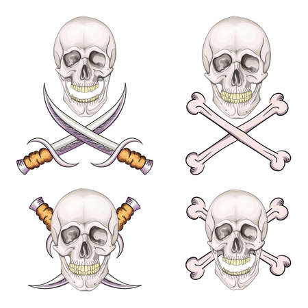 Danger pirate skull set with bones and knives for tattoo or t-shirt design.
