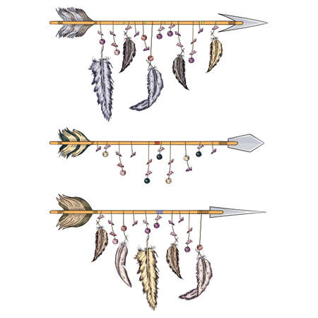 arrows with feathers of indians collection for hunting and war