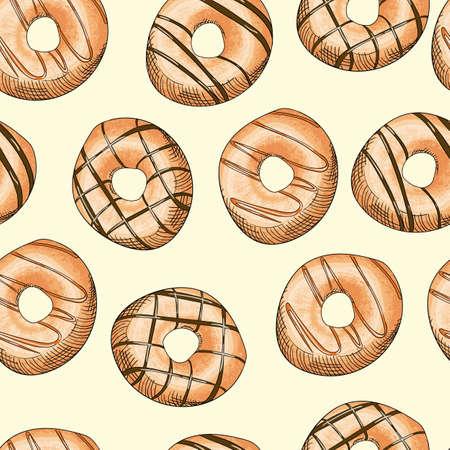 Glazed Donuts seamless pattern. Food Vector illustration.