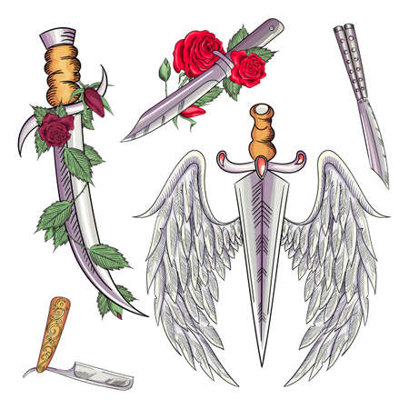 Old school styled tattoo of a dagger through rose. Editable vector illustration. Banque d'images