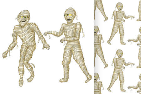 Egyptian mummy and seamless pattern Boy in Halloween mummy costume laughing scarring.