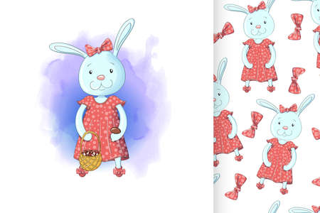 Bunny girl with a basket of mushrooms and seamless pattern. Sweet baby girl shower card.