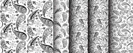 seamless pattern set in style hand draw, doodle, zentangl, India Banque d'images