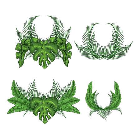 Tropical wreath palm leaves set, jungle leaf