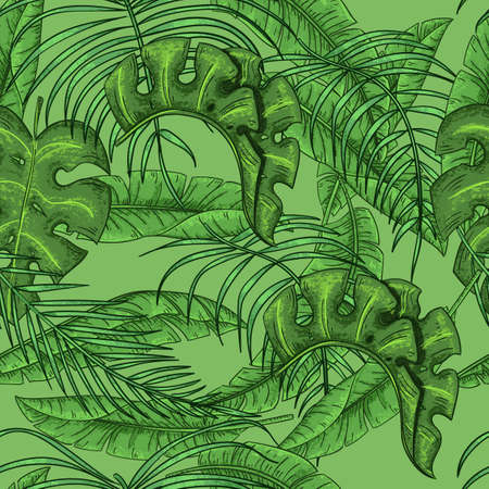 Tropical palm leaves and exotic leaves seamless floral pattern