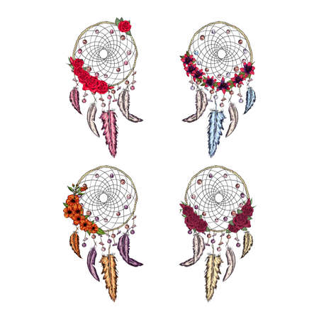hand drawn illustration of dream catcher setwith flowers, native american poster Banque d'images