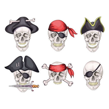 Skull and sabers. Pirate emblem. cartoon icon set