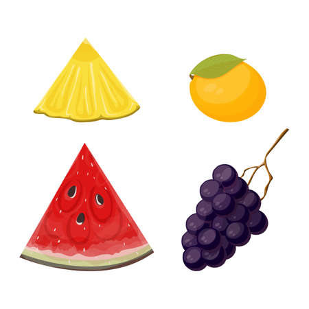 slices and whole fruit pineapple, watermelon, mango and grapes set