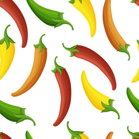 Joyful chilli peppers pattern, seamless vector repeat. Nice colors, varied textures, simplified shapes.