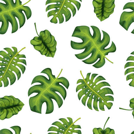 Tropical palm leaves, jungle leaves seamless vector pattern background