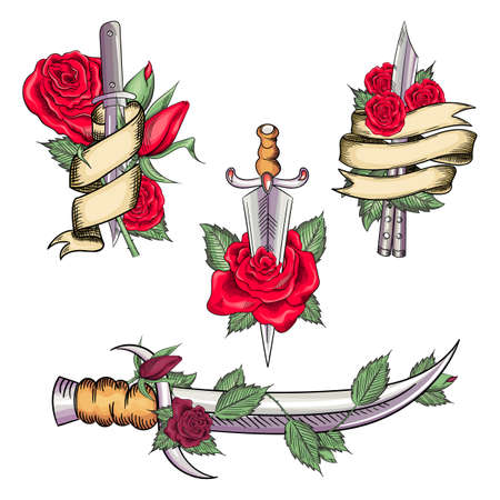 Traditional set tattoo with rose flowers and dagger knife. Illustration