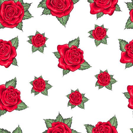 rose flowers seamless pattern background. Tender beautiful lowers.