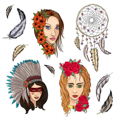 ethnic boho set of girls, dream catcher, feathers and flowers, native american tribe decoration print element, tribal navajo