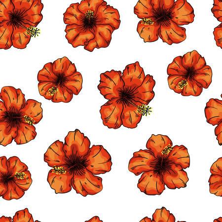 hibiscus flowers seamless pattern background. Tender flowers.