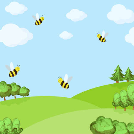 spring background with bees in the field and blue sky. vector illustration Illustration