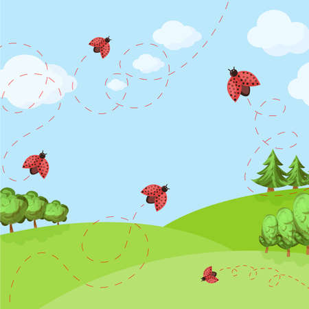 spring background with ladybug on the field and blue sky. vector illustration for a banner or cover