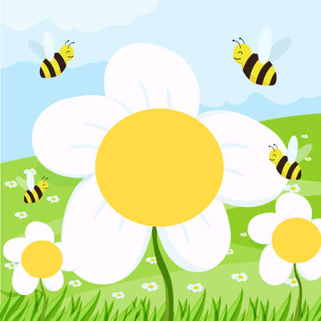 spring background with daisies on the field and blue sky. vector illustration for a banner or cover