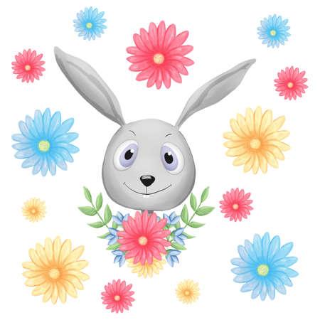 Hand Drawn Cute Bunny, print design rabbit, children print Banque d'images
