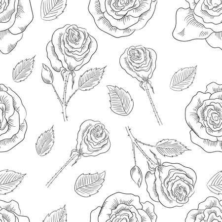 rose flowers seamless pattern background. Tender beautiful lowers.