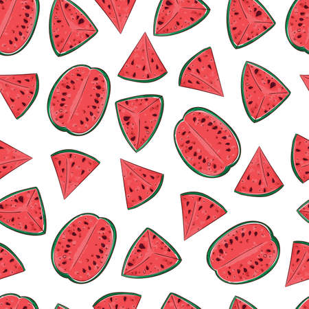 seamless watermelon pattern and background vector illustration