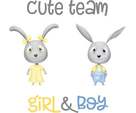 Hand Drawn Cute Bunny set, print design rabbit, children print