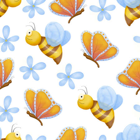 Cute bugs seamless pattern. Child drawing insects, flying butterflies and baby ladybird. Flower butterfly, fly insect and beetle.