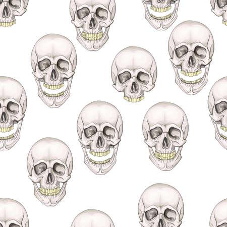 seamless pattern skulls. Hand painted mystic emblem. Halloweens night. Horror.