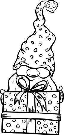 Christmas gnome cartoons, black silhouettes isolated on white. 版權商用圖片