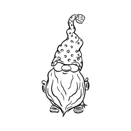 set Christmas gnomes cartoons, black silhouettes isolated on white.