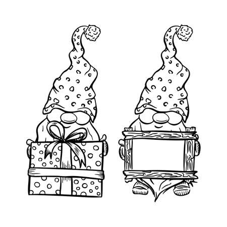 set Christmas gnomes cartoons, black silhouettes isolated on white.