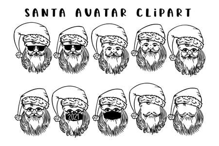 Set of Santa Claus with sunglasses. Collection of portrait Santa with beard and Christmas hat. Holiday design. Happy New Year symbol. Vector illustrationon white background.