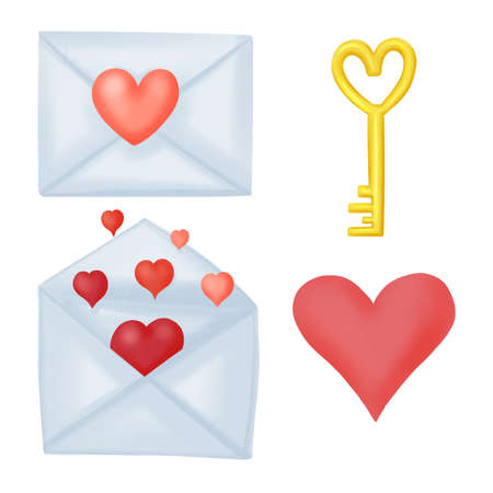 set of illustrations for Valentine day, letters, lock and key, hearts 版權商用圖片