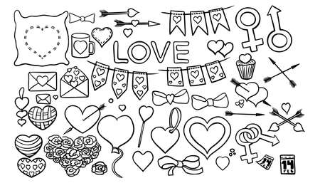 set of illustrations for Valentine day, letters, key, hearts