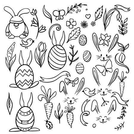 Easter traditional symbols collection - eggs, bunny, willow twigs, basket, candles, Christian church, egg decorating. 版權商用圖片 - 163405270